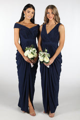 Navy Deep Blue Bridesmaid Maxi Dress featuring crossover V neckline, tiered slim skirt with front split