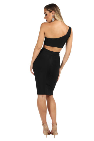 Gigi One Shoulder Bandage Crop Top - Black