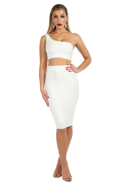 Gigi One Shoulder Bandage Crop Top - White