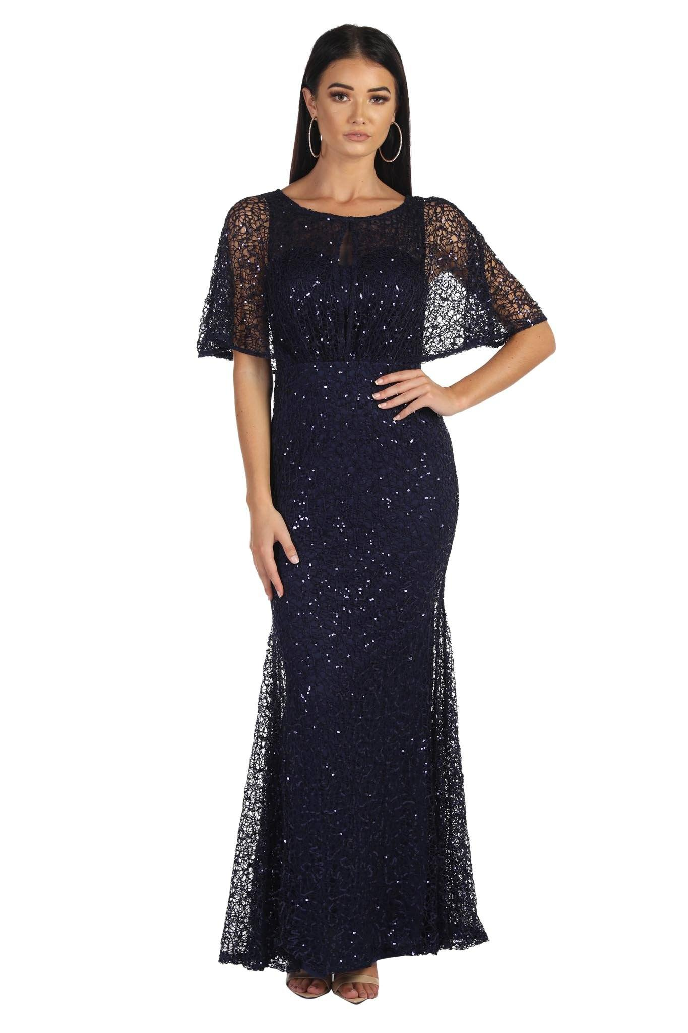 Navy sequin evening maxi dress with boat neckline and butterfly half sleeves