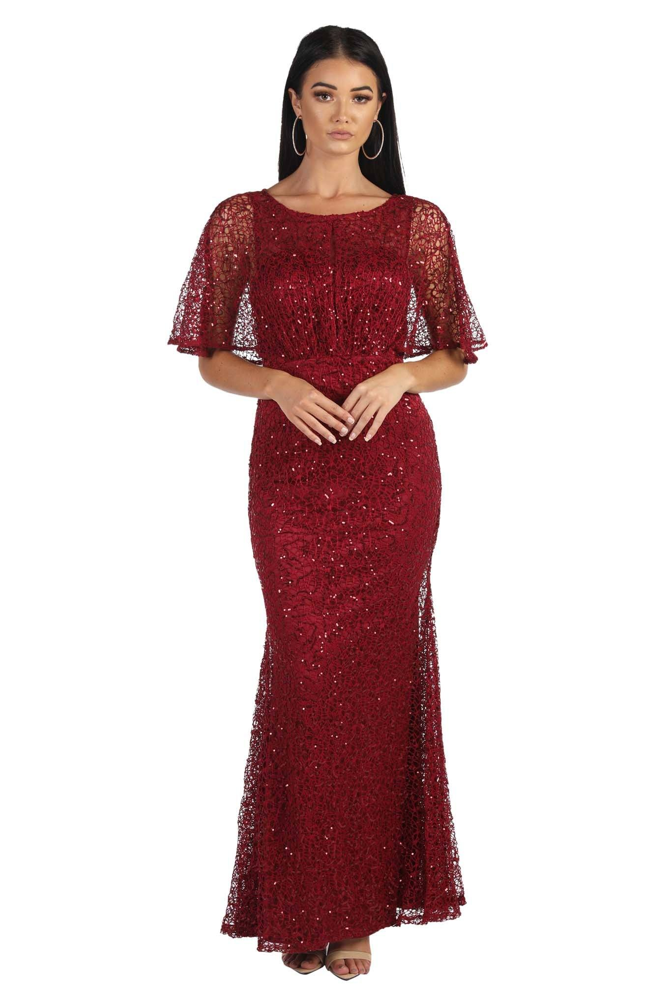 Deep Red sequin evening maxi dress with boat neckline and butterfly half sleeves