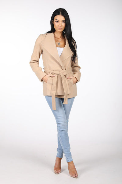 Oversized Lapel Wool Blend Wrap Coat - Camel