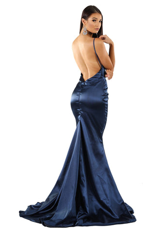 Penelope Satin Gown - Navy