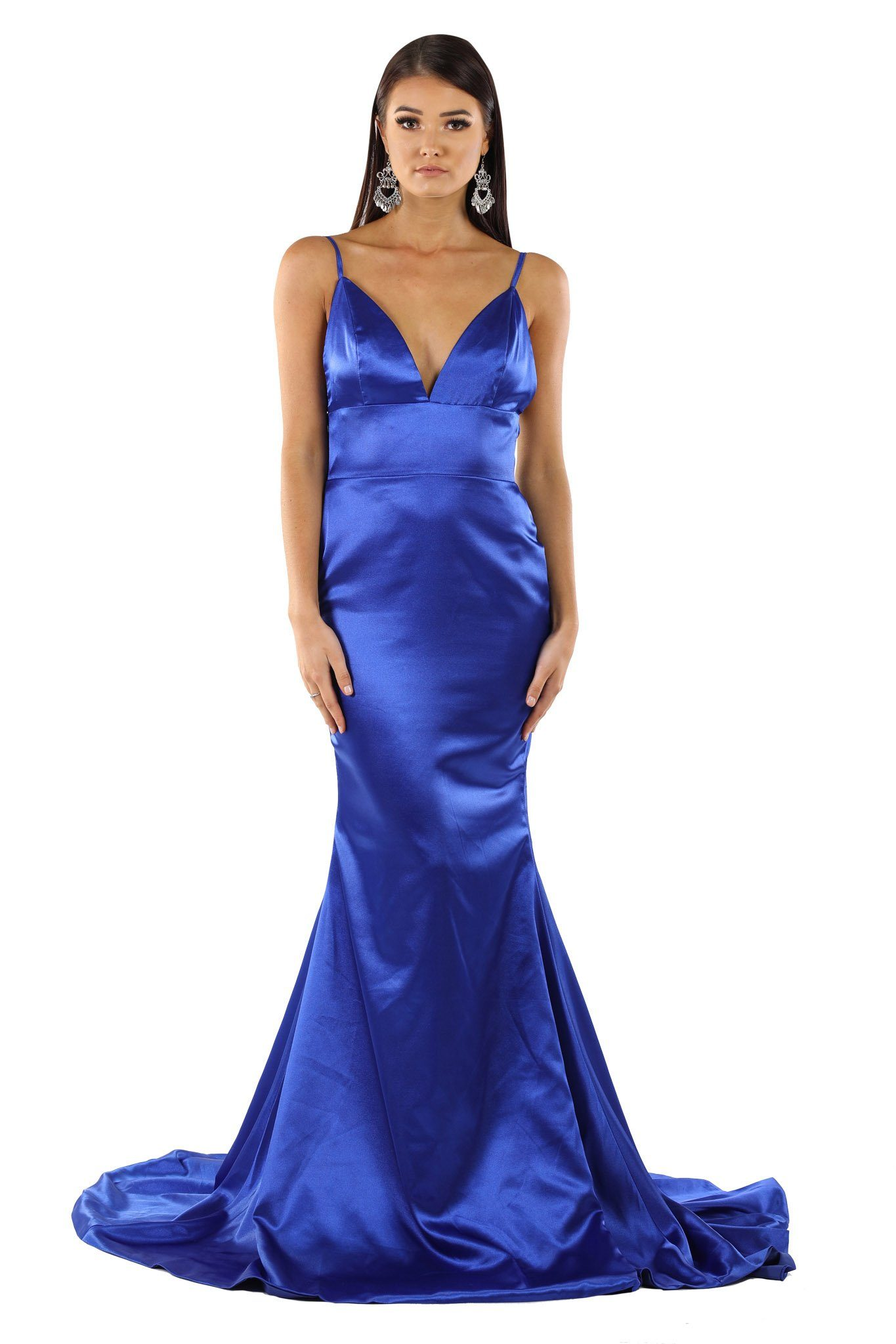 Royal Blue Satin Formal Long Dress with deep V neckline, thin shoulder straps, open V back, floor sweep train