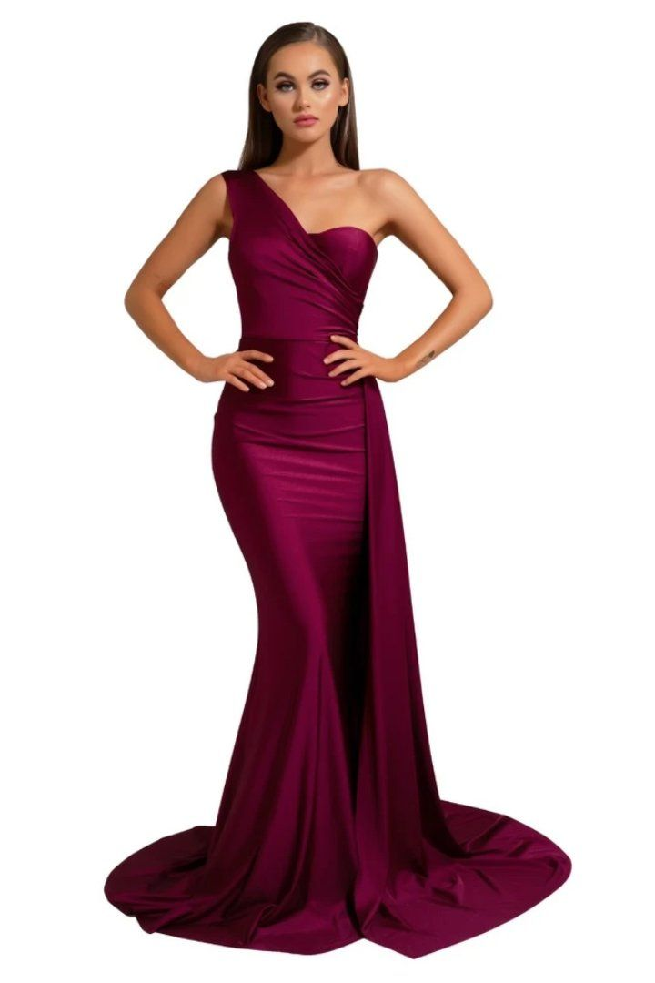 PS6321 Fitted Stretch Satin Mermaid Gown in Plum Colour by Designer Portia & Scarlett Featuring One Shoulder Strap and Asymmetrical Draping