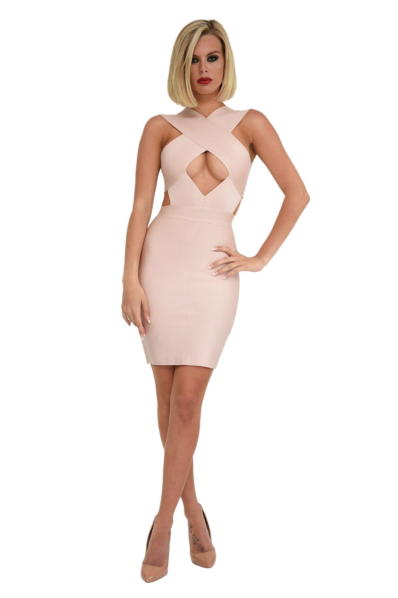 Front Shot of Light Pink Colored Mini Bodycon Sleeveless Bandage Dress with Hollow Chest and Waist Cutout Design