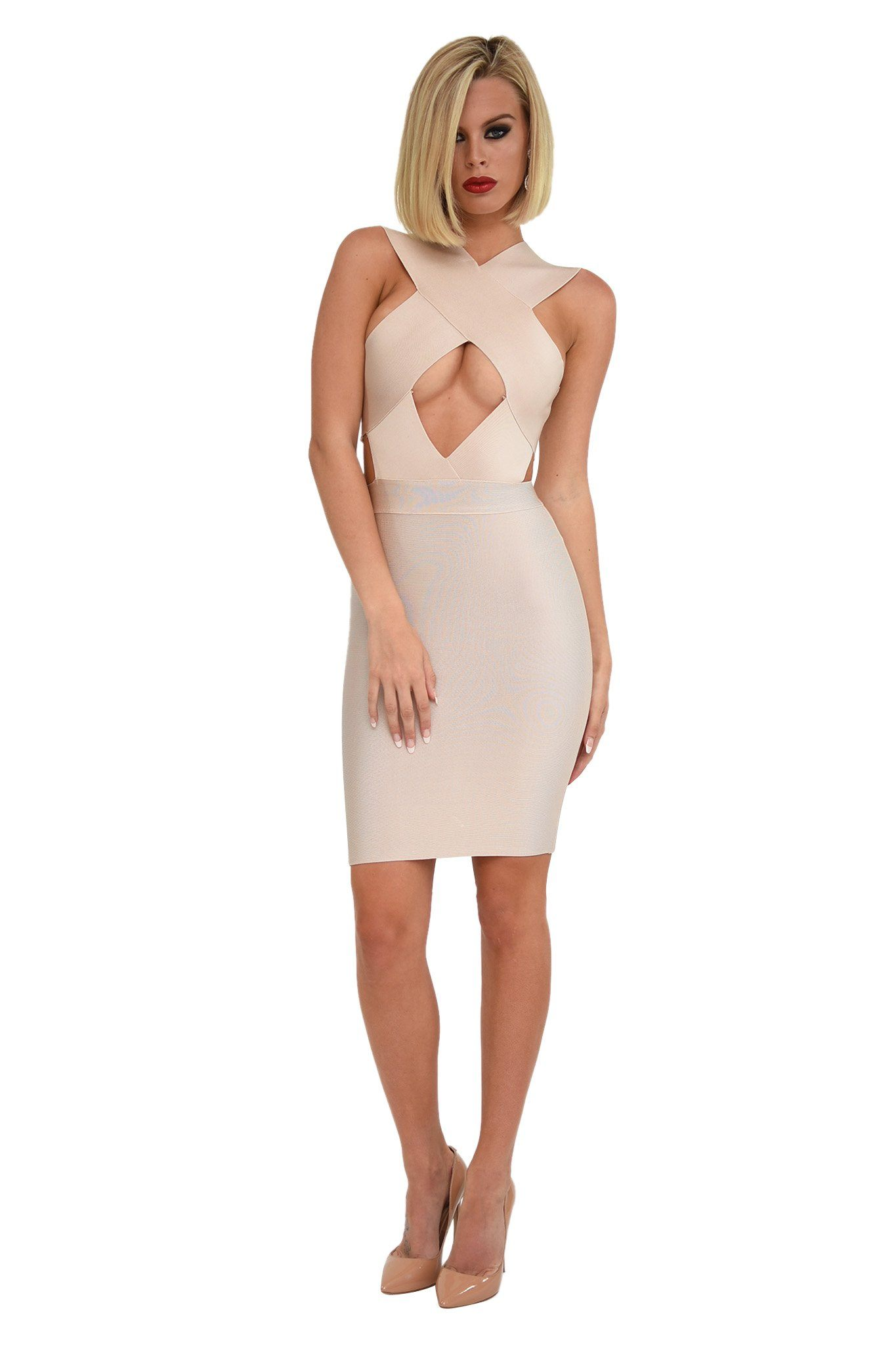 Front Shot of Nude Colored Mini Bodycon Sleeveless Bandage Dress with Hollow Chest and Waist Cutout Design