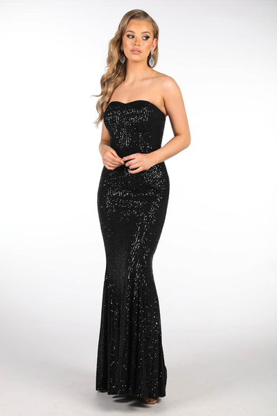 Paige Sequin Gown - Black (Size S - Clearance Sale)