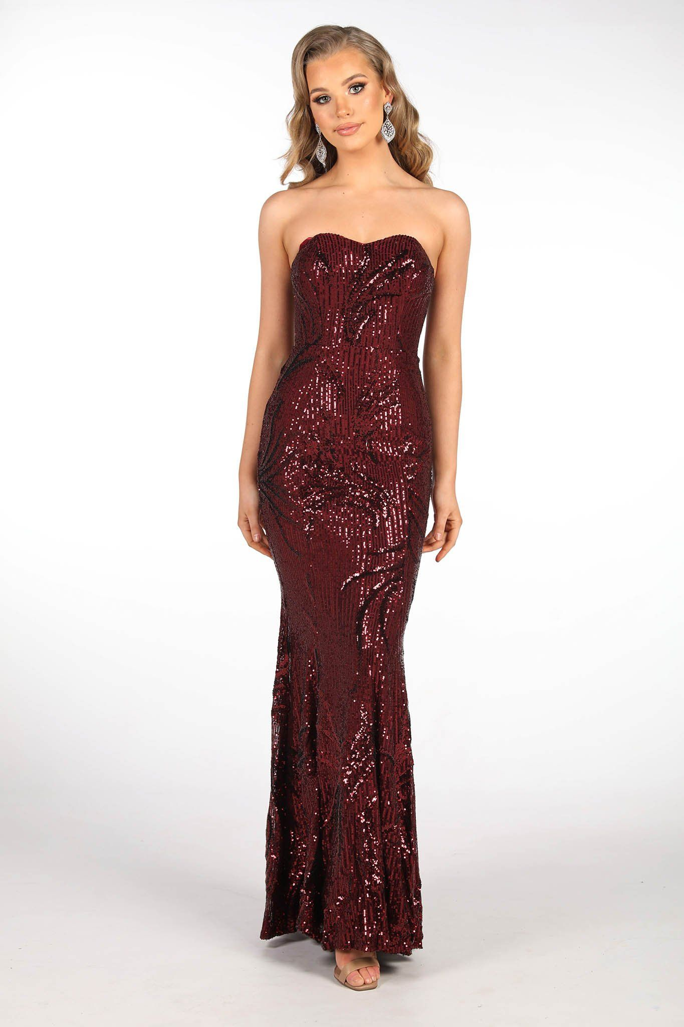 Deep Red Pattern Sequin Full Length Evening Dress featuring Strapless Sweetheart Neckline and Fit & Flare Silhouette