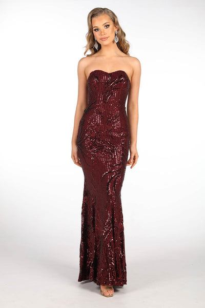 Paige Sequin Gown - Wine (Size S - Clearance Sale)