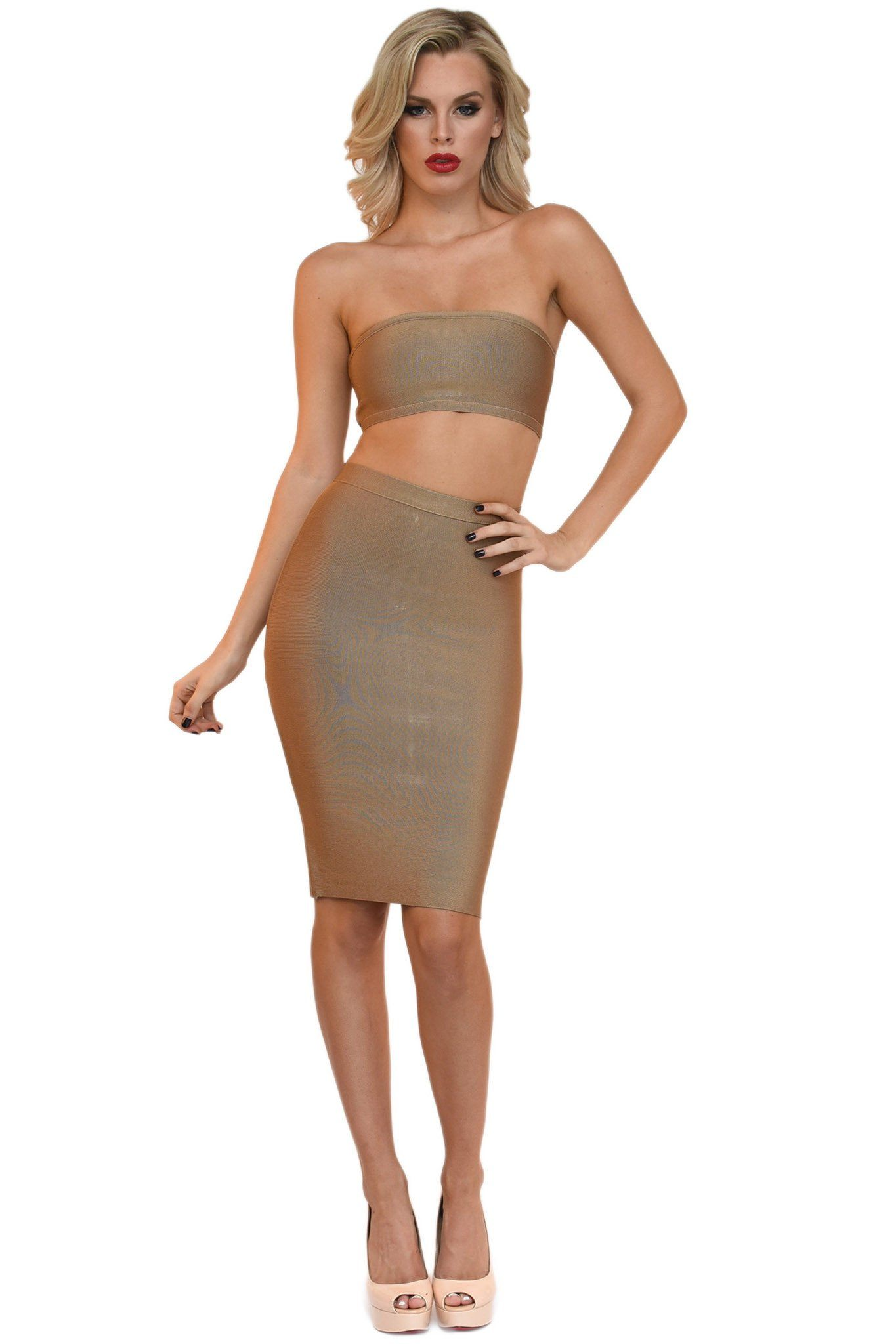 Front of khaki brown two piece bandage set including a bandeau top and midi pencil skirt