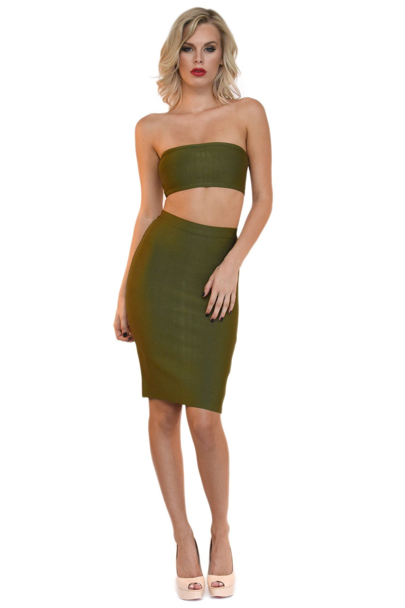 Front of olive green two piece bandage set including a bandeau top and midi pencil skirt