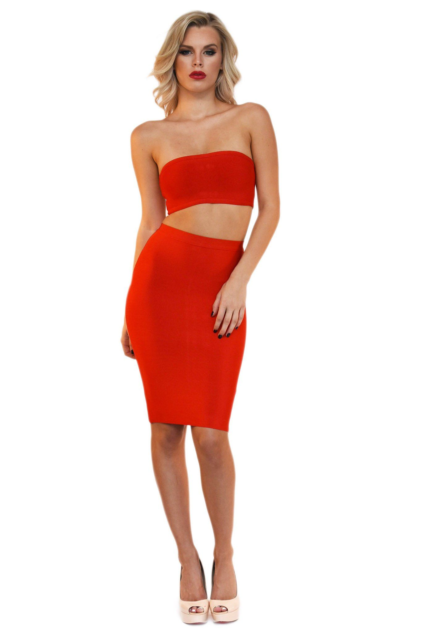 Front of two piece bandage set including a bandeau top and a midi pencil skirt