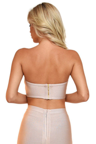 Paris Bandage Bandeau Top - Nude