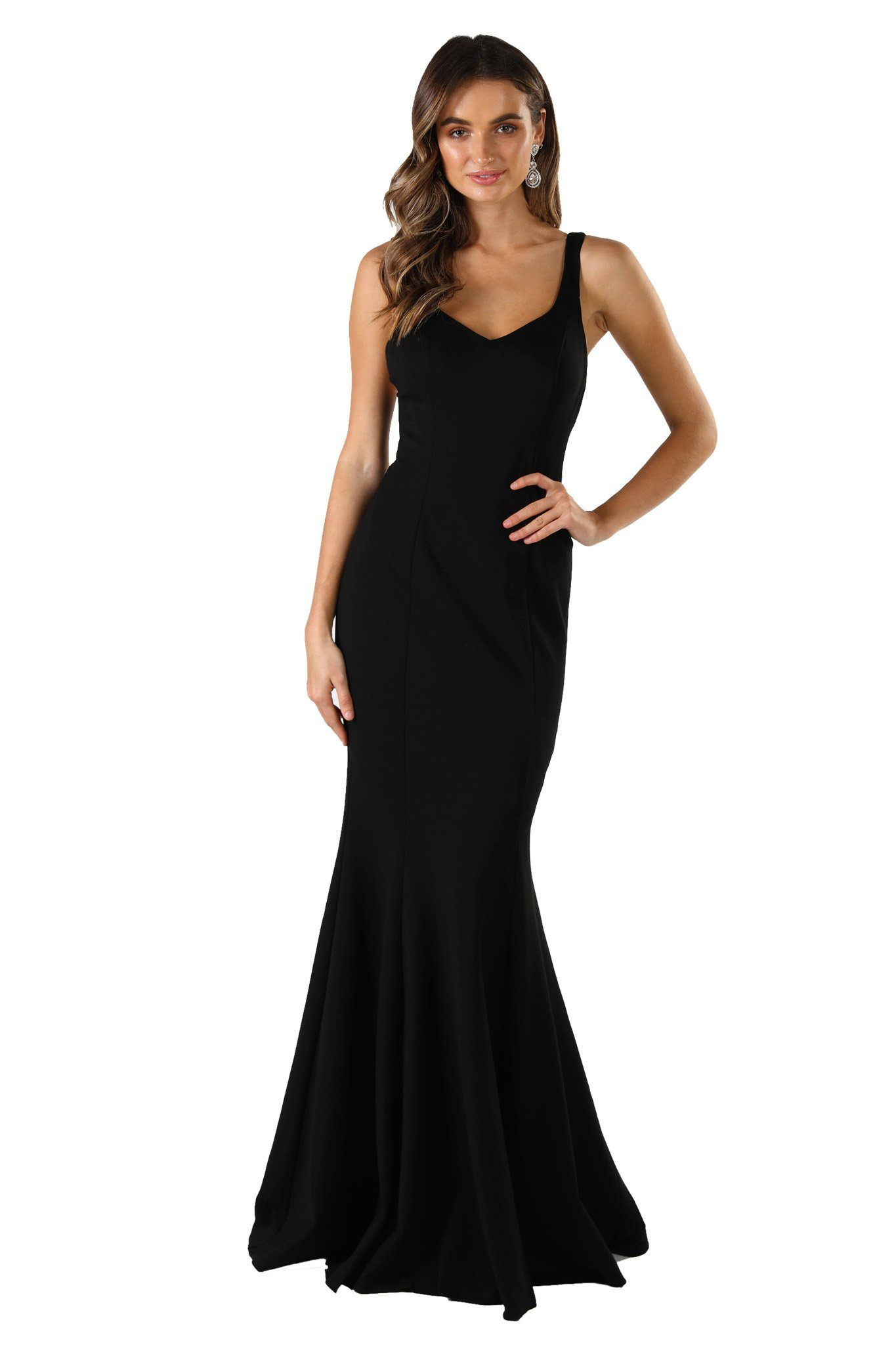 Black sleeveless form fitting formal maxi dress featuring subtle sweetheart neckline, shoulder straps, mermaid fishtail and open back design