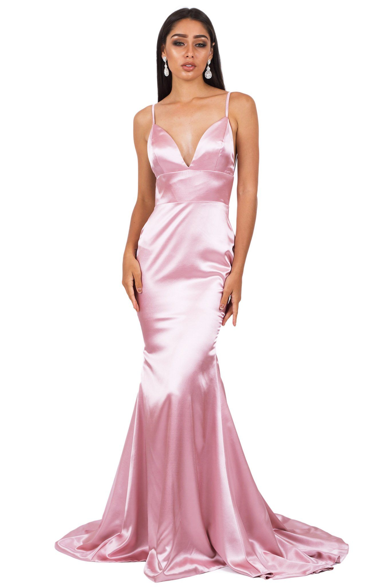 Front of blush pink silk satin floor length formal evening sleeveless gown with V neckline, thin shoulder straps, backless design and long train