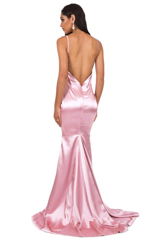 Penelope Satin Gown - Blush Pink