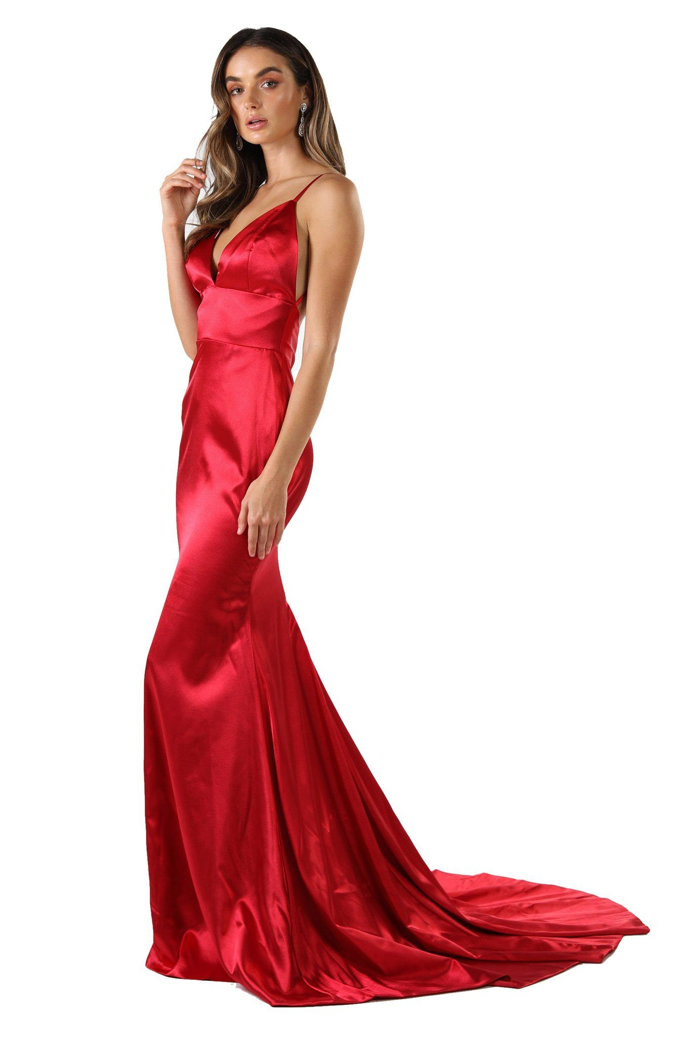 155869bdfe Bright red sleeveless satin formal long gown with thin shoulder straps