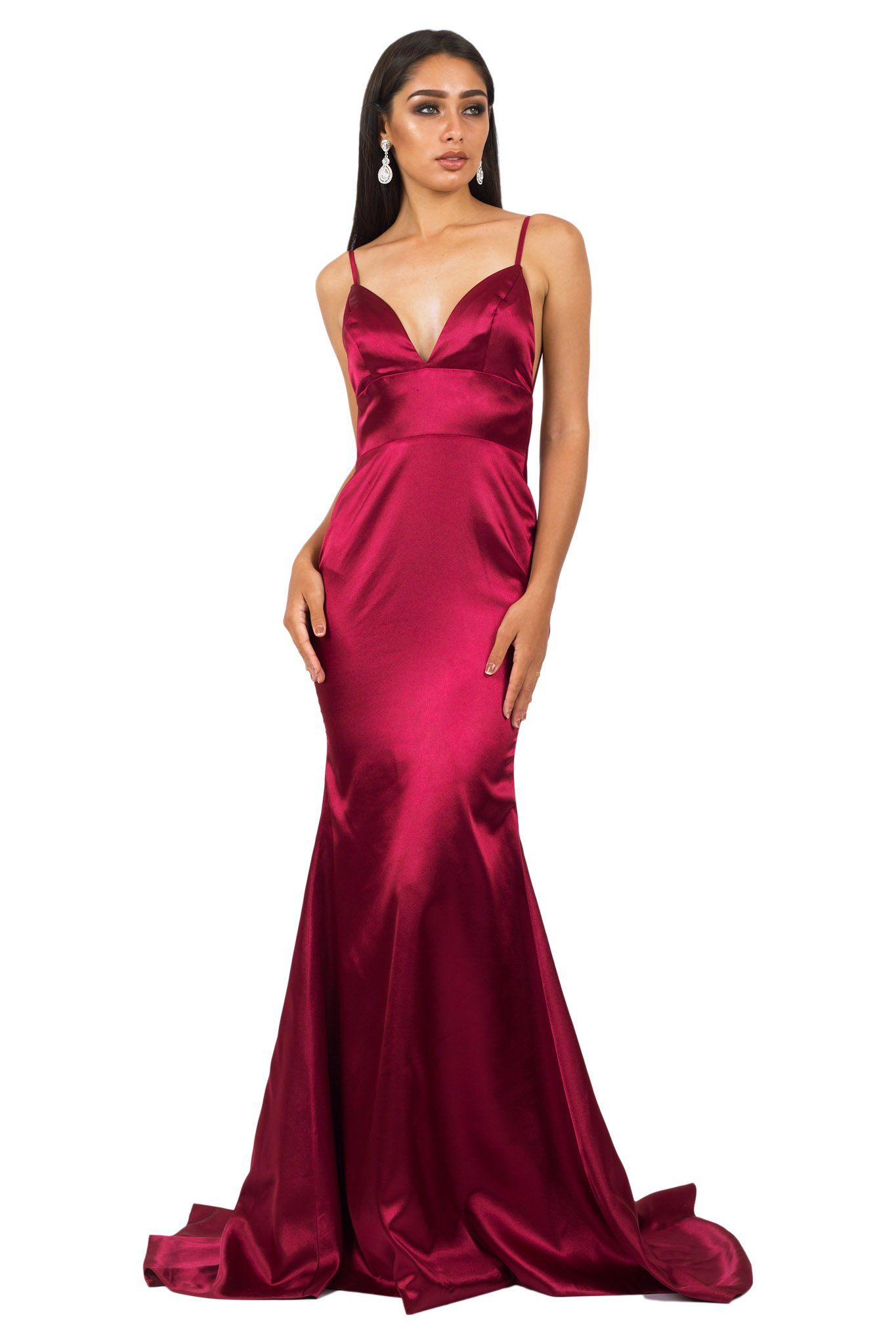 Front of deep red burgundy silk satin floor length formal evening sleeveless gown with V neckline, thin shoulder straps, backless design and long train