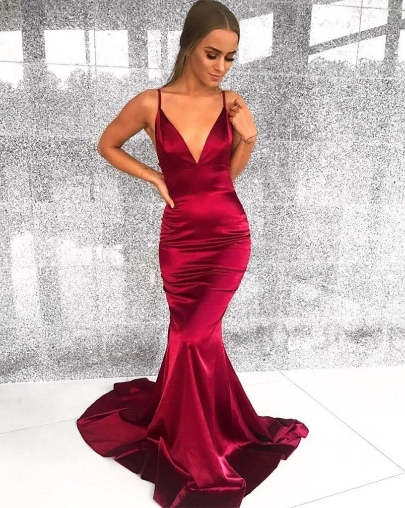 Penelope Satin Gown - Deep Red – Noodz Boutique