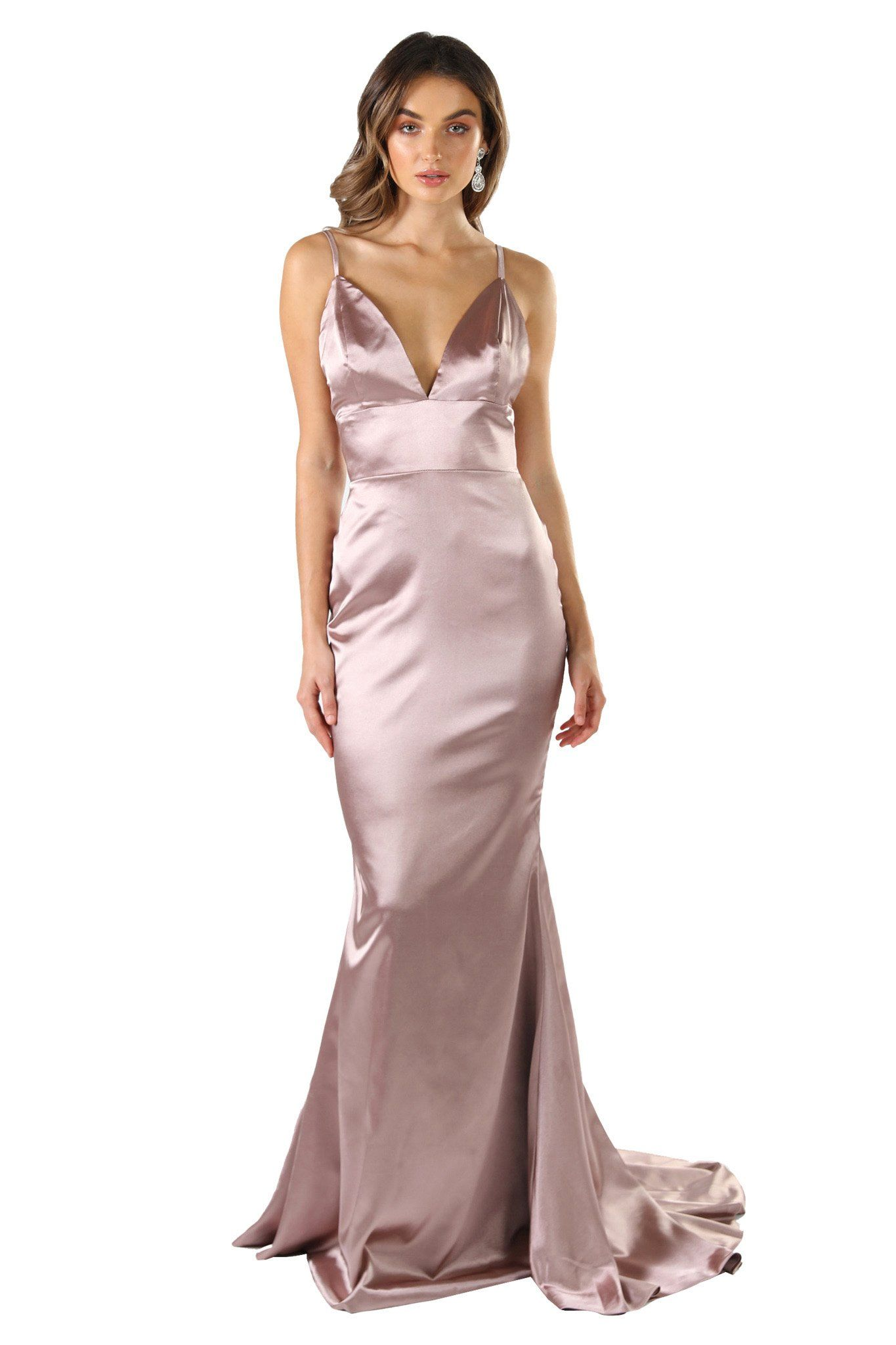 Champagne silk satin floor length formal evening sleeveless gown with V neckline, thin shoulder straps, backless design and long train