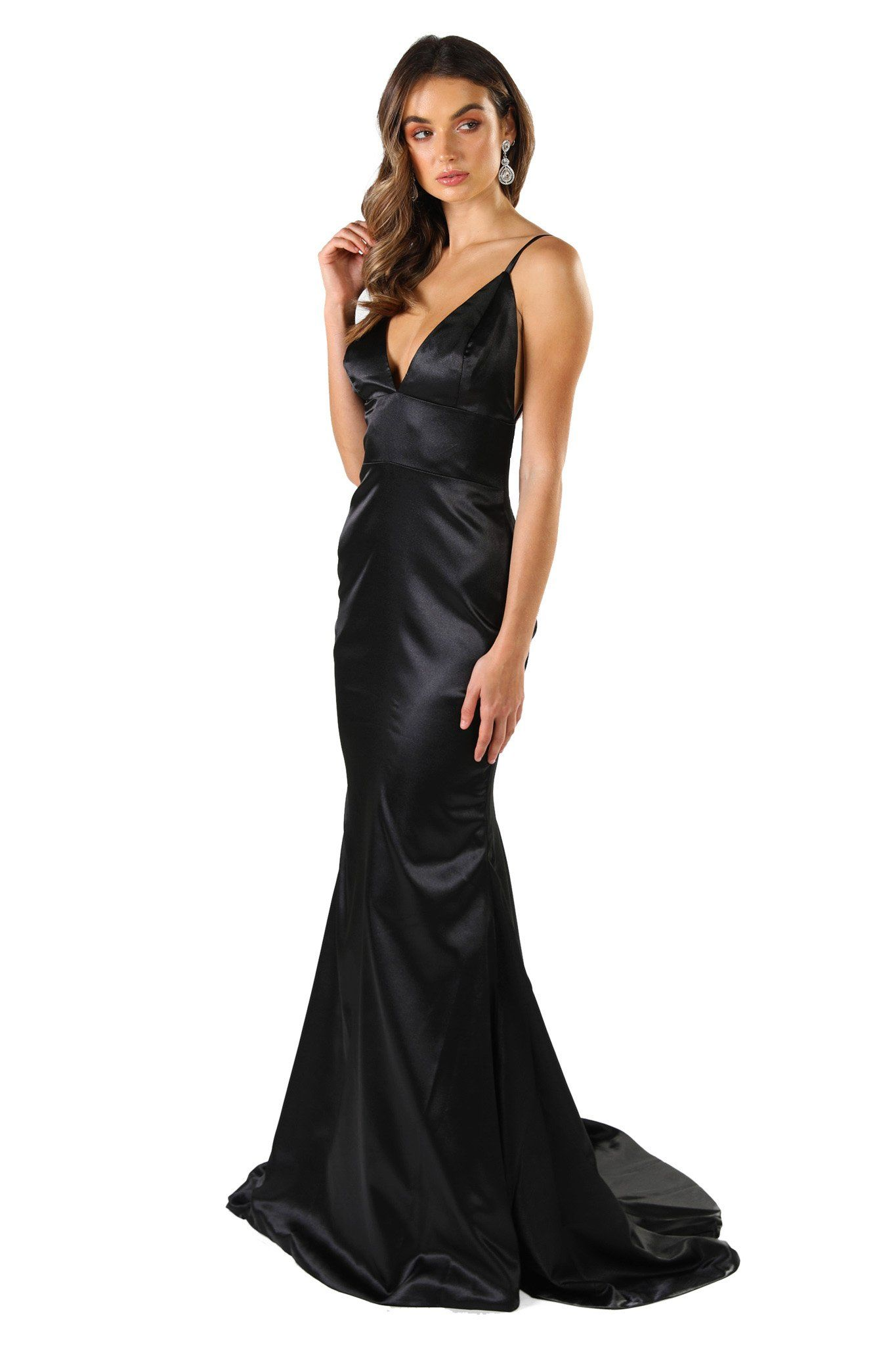 Black silk satin floor length formal evening sleeveless gown with V neckline, thin shoulder straps, backless design and long train