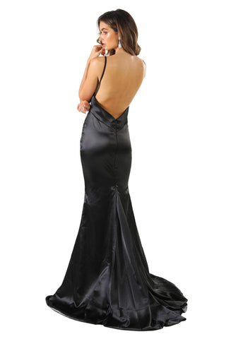 Penelope Satin Gown - Black