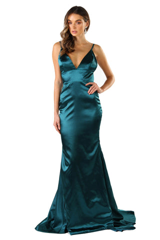 Penelope Satin Gown - Emerald Green