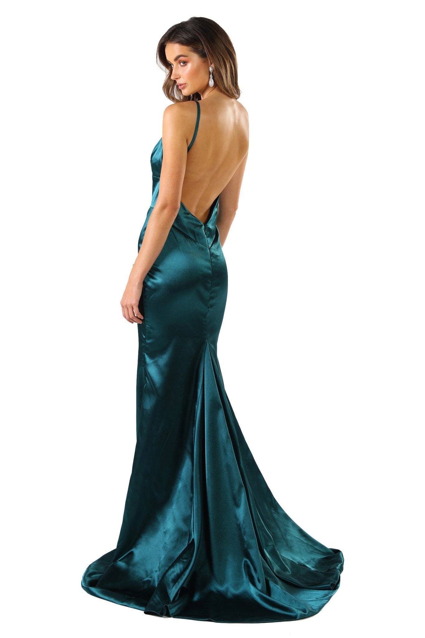 Emerald green silk satin floor length formal evening sleeveless gown with V neckline, thin shoulder straps, backless design and long train