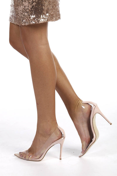 Perspex Court Heels in Nude