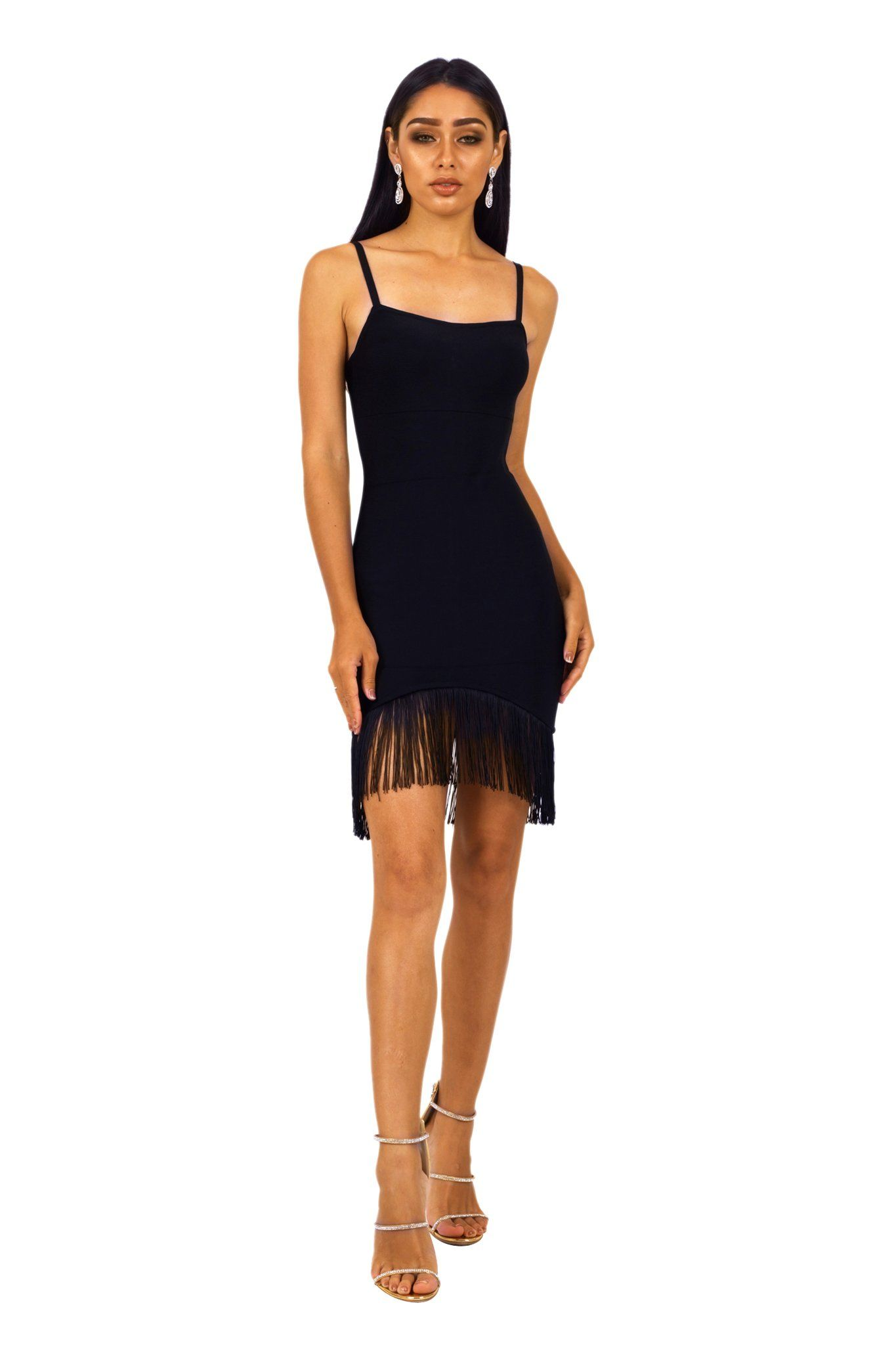 Front shot of black mini fringe-hem bodycon bandage dress with square neckline and thin straps