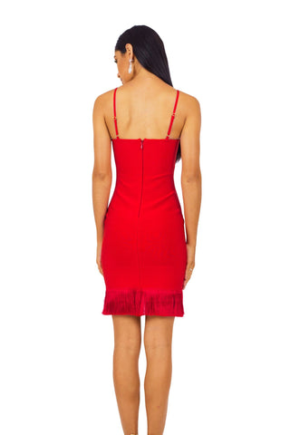Piper Fringe Hem Dress - Red