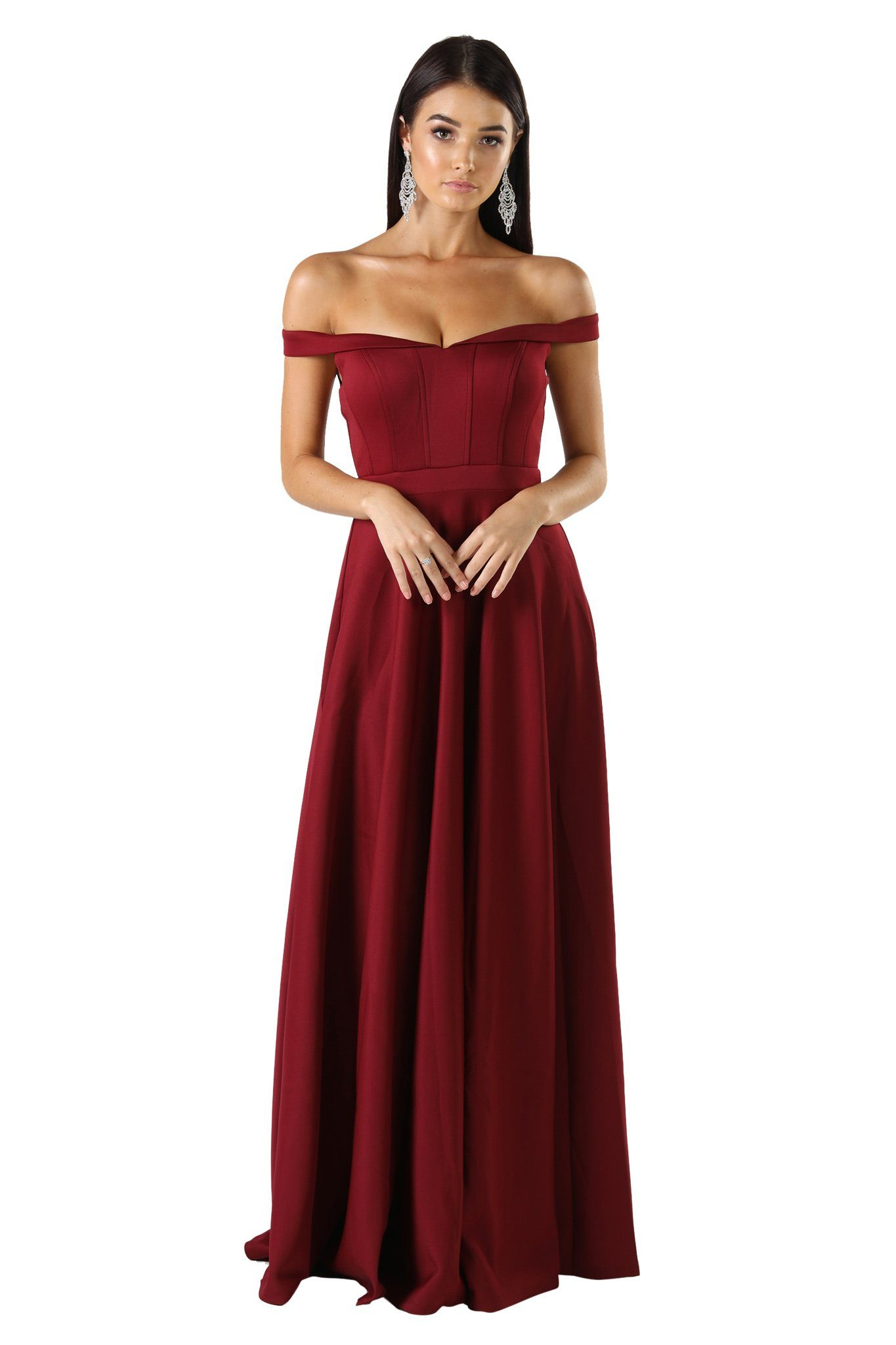 Off shoulder ponti floor length A line skirt gown in wine/deep red color