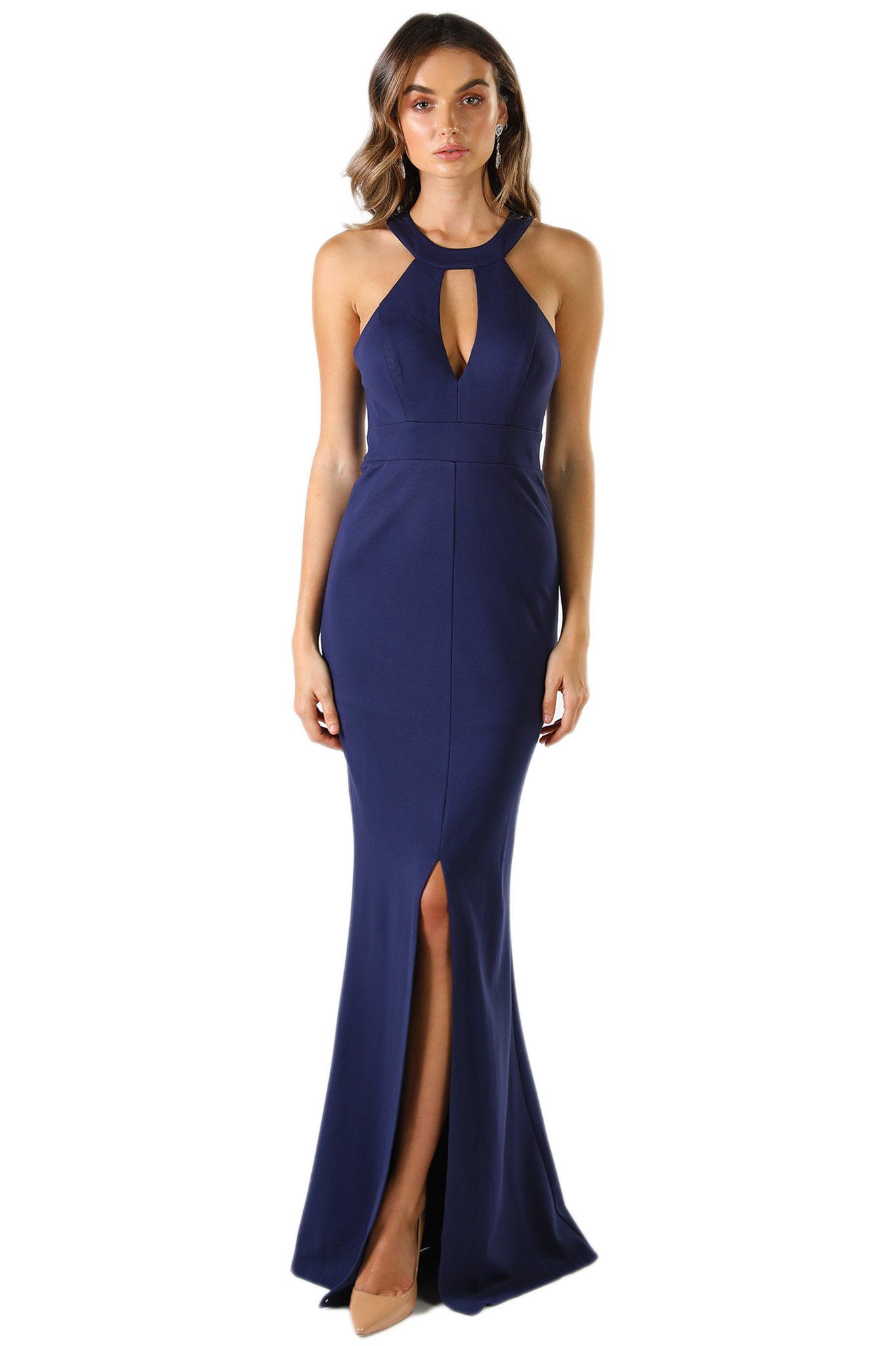 Navy sleeveless form fitting maxi dress features high neck collar keyhole, centre front slit, and lace details at the back