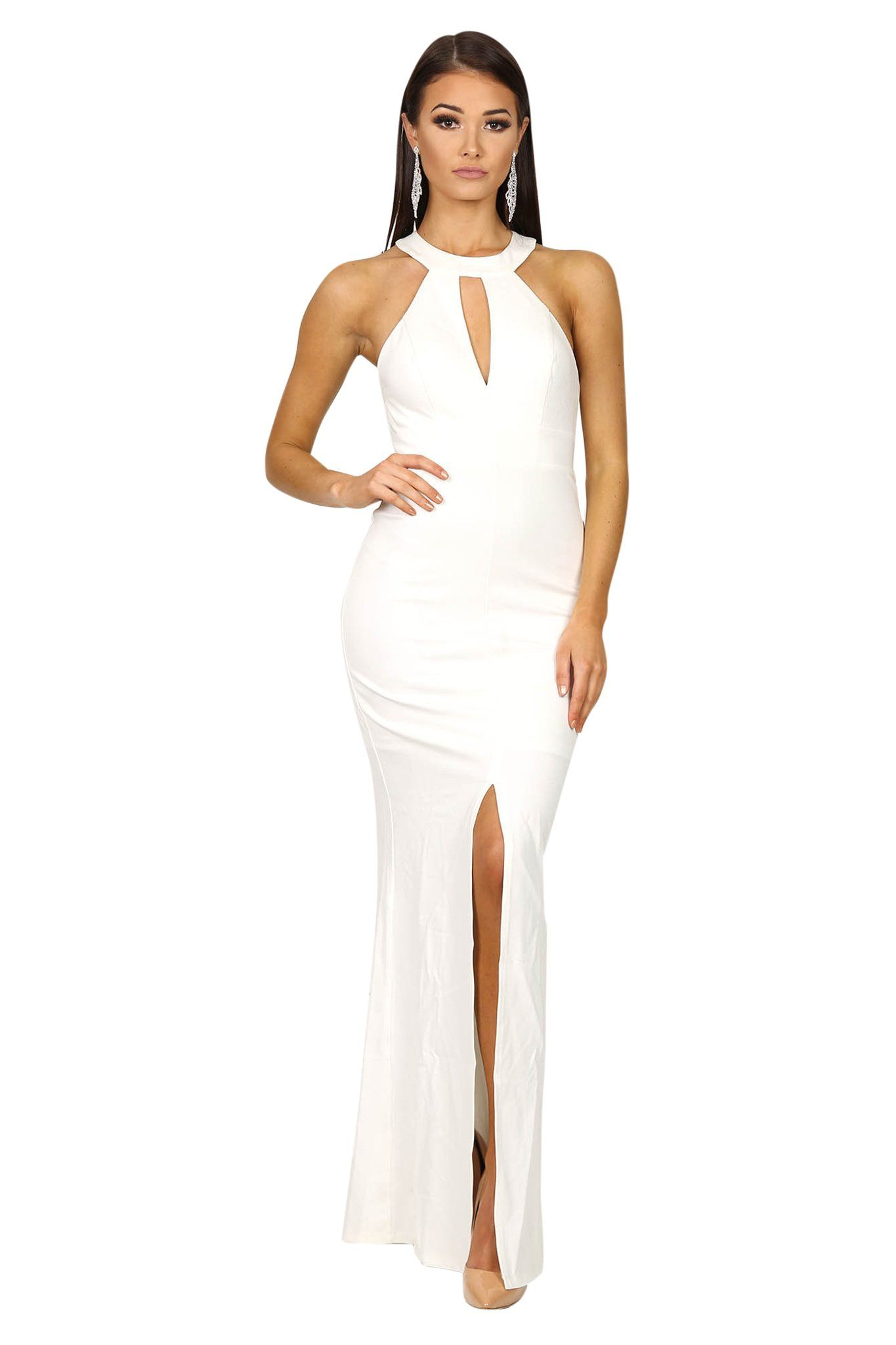 Front of white sleeveless form fitting maxi dress features high neck collar keyhole, centre front slit, and lace details at the back