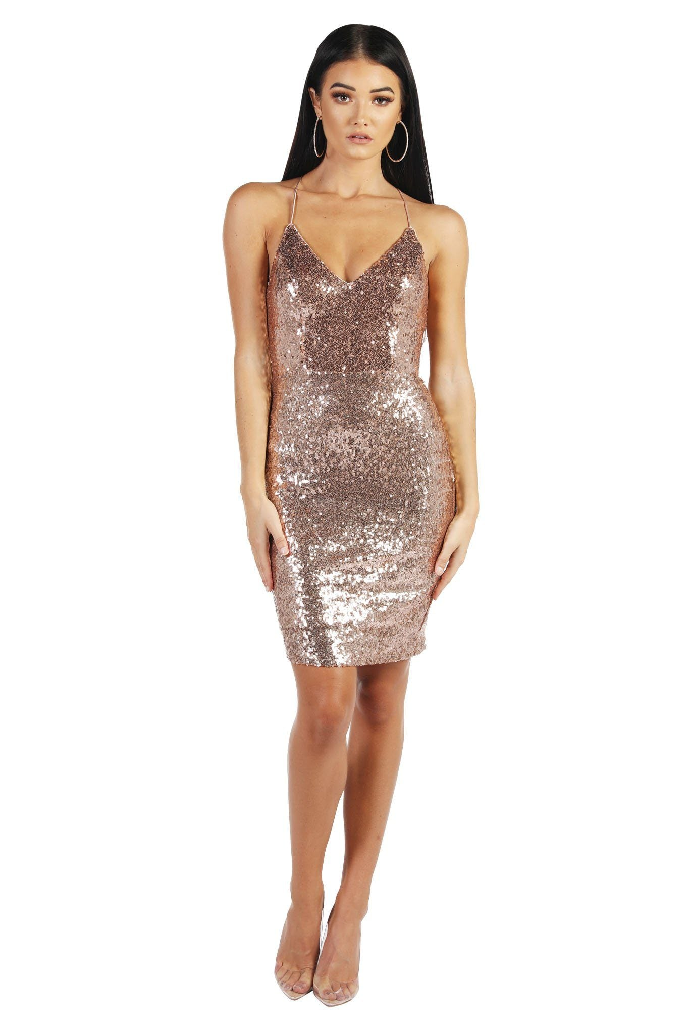 0d323f82c0bf ... Rose Gold Sequin Bodycon Mini Dress with V Neckline and Lace Up Back ...