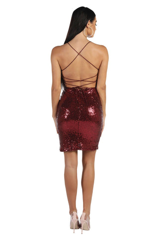RIO Lace Up Back Sequin Mini Dress - Wine