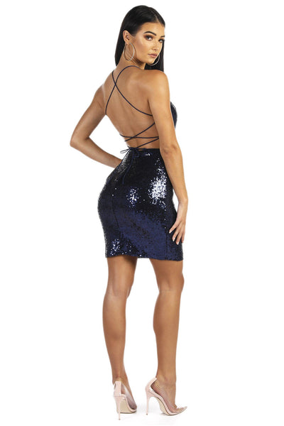 RIO Lace Up Back Sequin Mini Dress - Navy