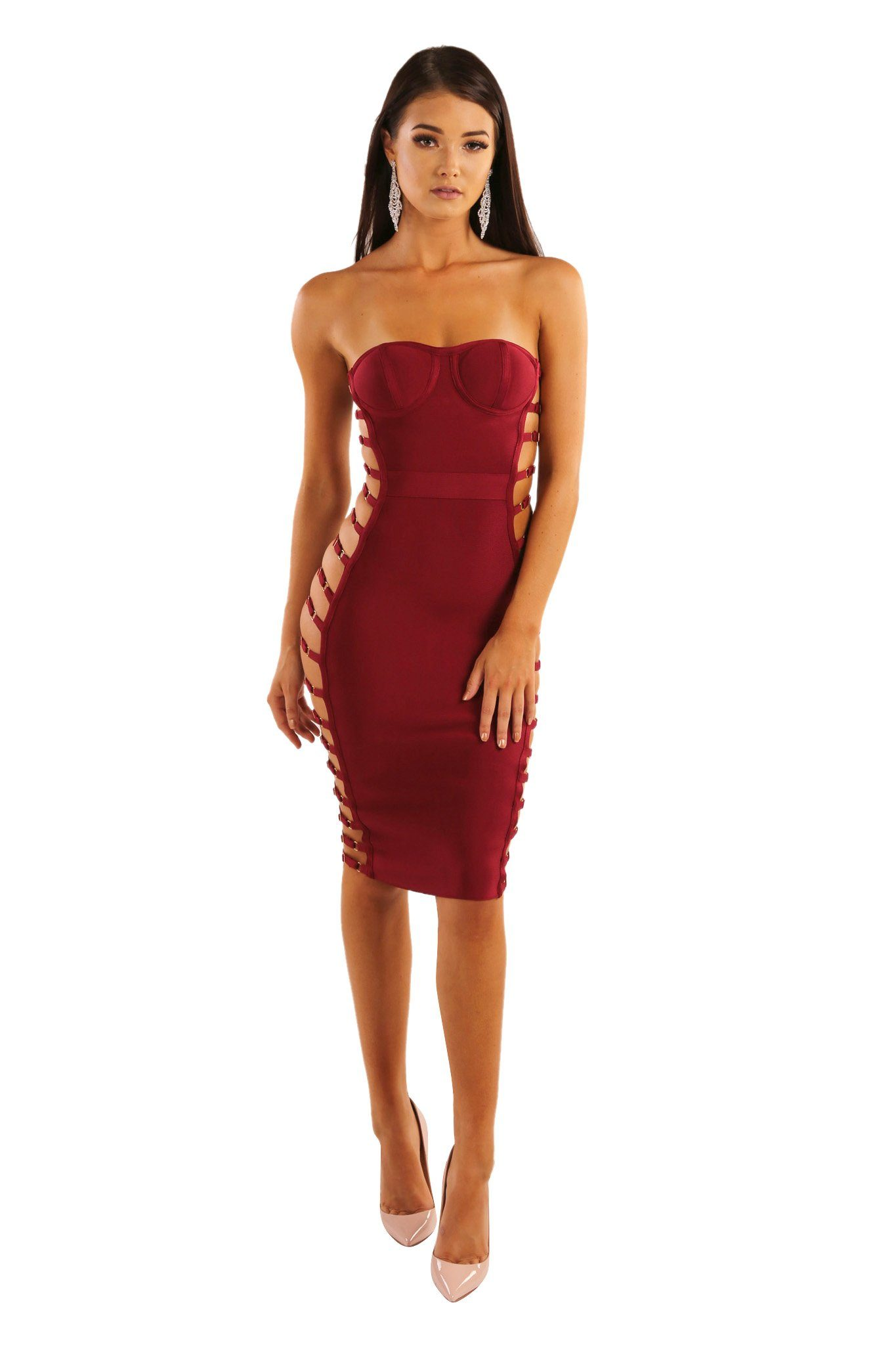 Maroon wine red strapless knee length bandage dress subtle sweetheart neckline side cutouts with faux gold buttons