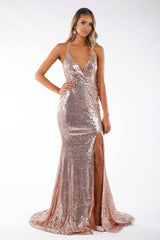 Rosaline Lace-up Back Front Slit Sequin Gown - Multiple Colors Available