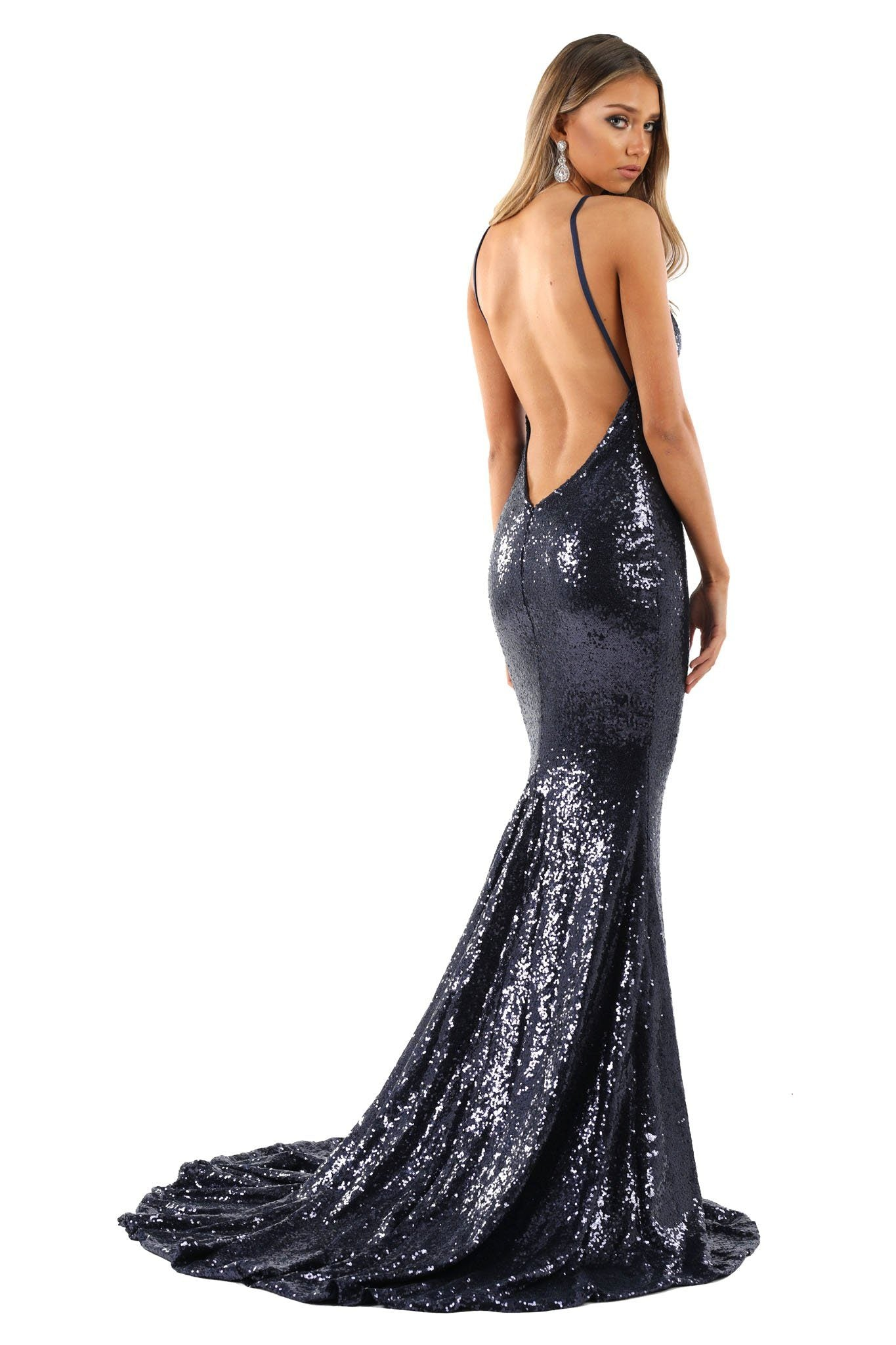 Navy Dark Blue Sequin Formal Prom Sleeveless Gown featuring Deep V Neck, V Shaped Backless Design, Thin Shoulder Straps, and Long Train