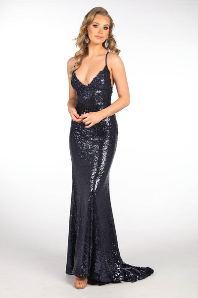 ROSIE LUXE Lace Up Back (No Slit) Sequin Gown - Navy