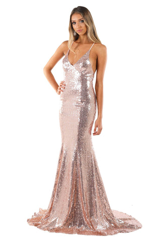 Rosie Lace Up Back Sequin Gown (No Slit) - Multiple Colors Available