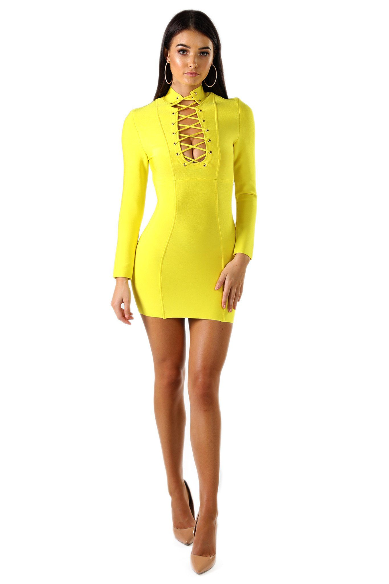 Yellow long sleeve mini tight fitted bandage dress with sexy front lace-up closure on the keyhole and high neck design