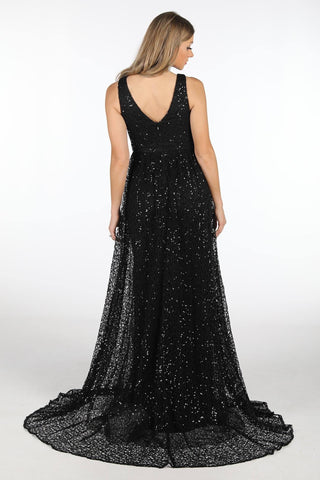 Renata A-Line Sequin Ball Gown - Black
