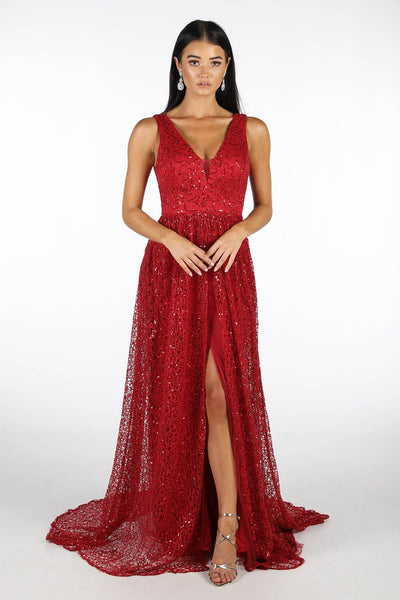 Renata A-Line Sequin Ball Gown - Deep Red