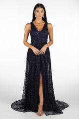 Navy Sequinned Mesh Floor Length Ball Gown with Deep V Neckline, Wide A-Line Skirt and Front Split