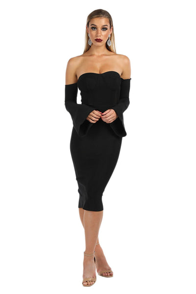 Renee Bell Sleeve Dress - Black