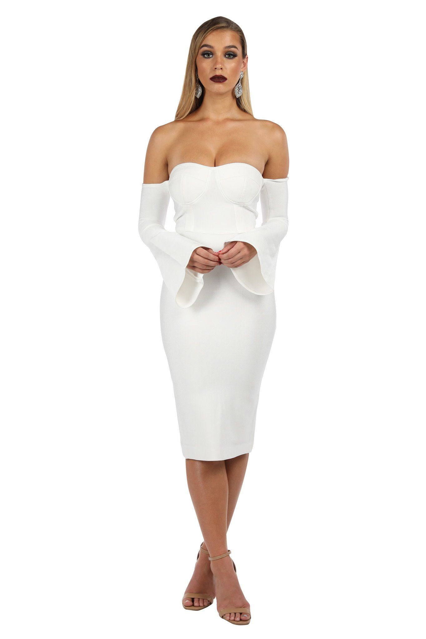 d7333261caf White bell-sleeve below knee length bandage dress with off-the-shoulder  sweetheart