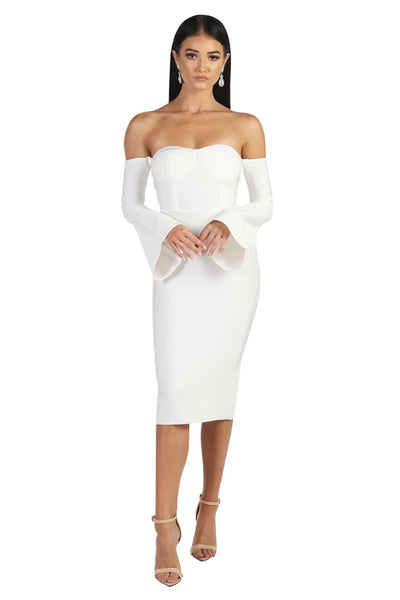 Renee Bell Sleeve Dress - White